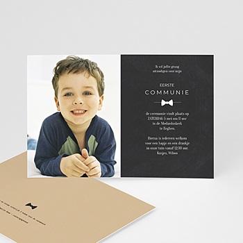 Uitnodiging communie jongen - met mooi strikje - 0