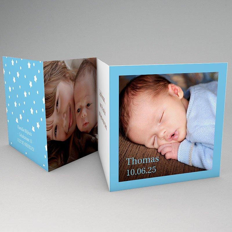 Geboortekaartje jongen - Blauw accordeonnetje 56179 thumb