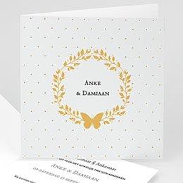 Exclusieve trouwkaarten Krans met goudfolie