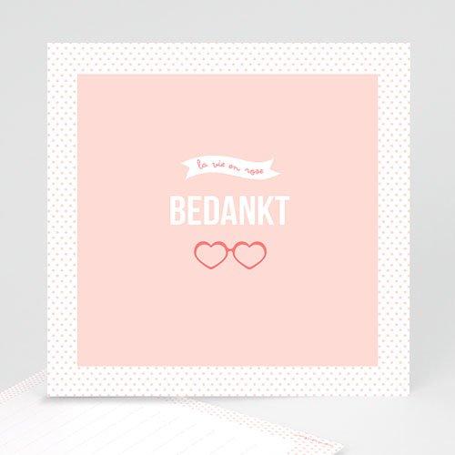 Bedankkaartje geboorte dochter - Roze wonderen 57072