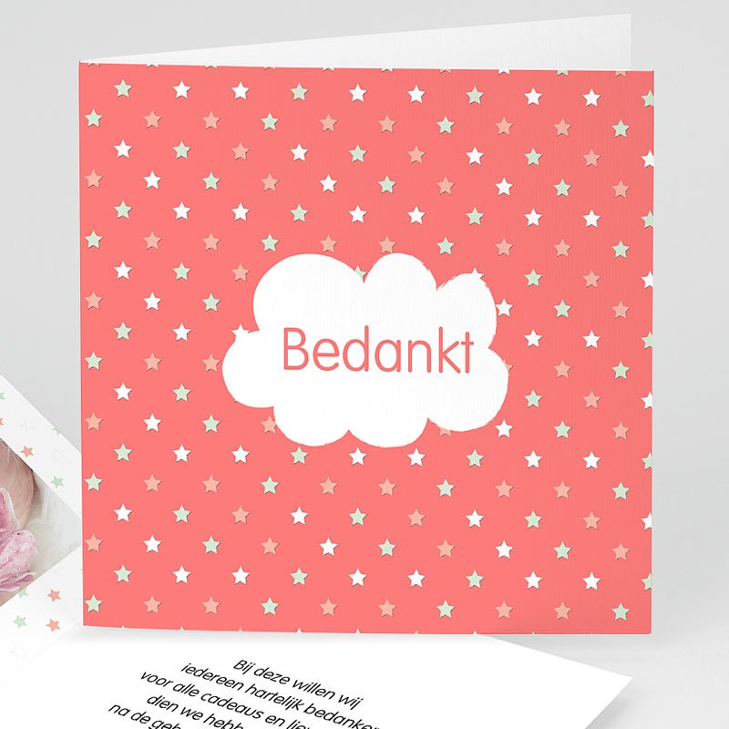 Bedankkaartje geboorte dochter - Dochter dankt sterren 57078 thumb