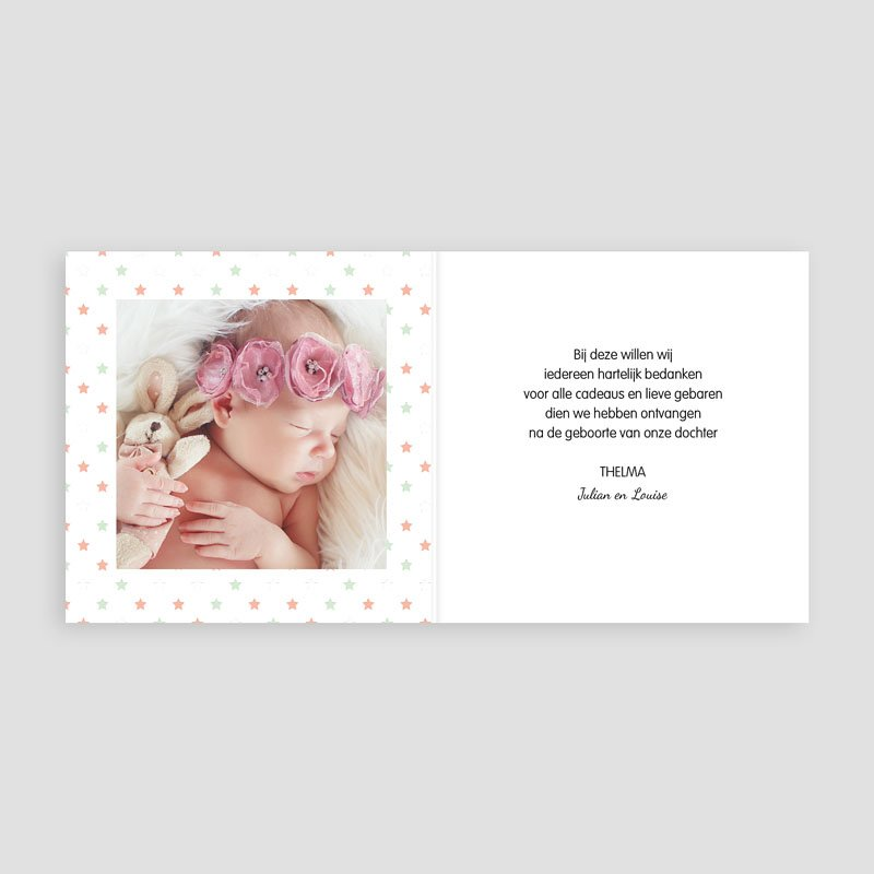 Bedankkaartje geboorte dochter - Dochter dankt sterren 57079 thumb