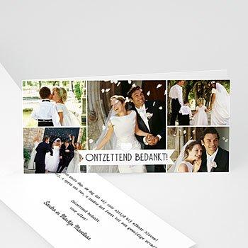 Bedankkaartjes huwelijk Chique zwart wit goud