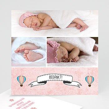 Bedankkaartje geboorte dochter - Roze in de wolkjes - 0