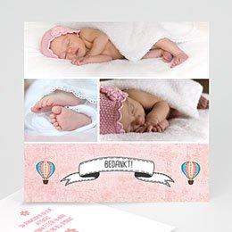 Bedankkaartjes Geboorte Roze in de wolkjes