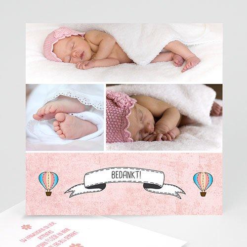 Bedankkaartje geboorte dochter - Roze in de wolkjes 57248 thumb