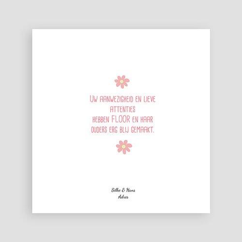 Bedankkaartje geboorte dochter - Roze in de wolkjes 57249 thumb