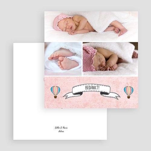 Bedankkaartje geboorte dochter - Roze in de wolkjes 57250 thumb