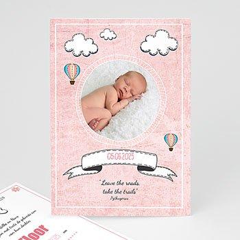 Geboortekaartje meisje - Roze in de wolkjes - 0