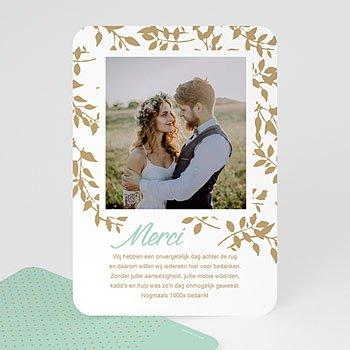Bedankkaarten huwelijk met foto - Gouden bladeren - 0