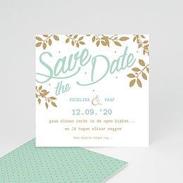 Save the date Huwelijk Gouden bladeren