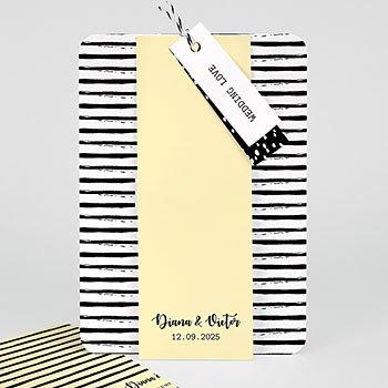 Creatieve trouwkaarten - Strepen & geel - 0