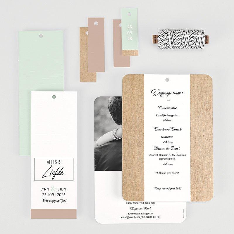 Vintage trouwkaarten - Gekleurd hout 58024 thumb