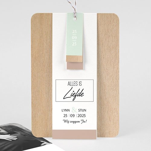 Vintage trouwkaarten - Gekleurd hout 58025 thumb