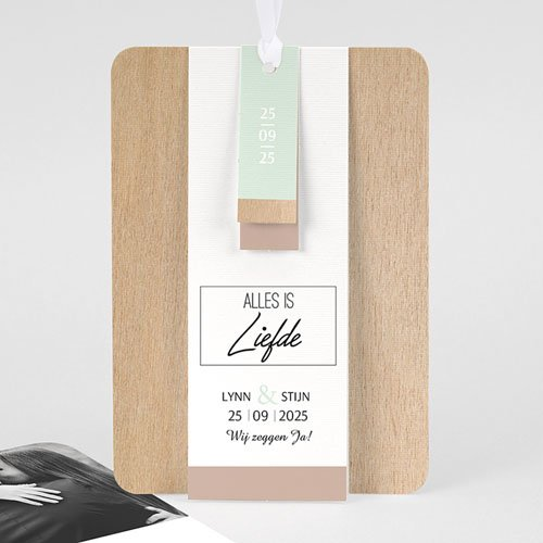 Vintage trouwkaarten - Gekleurd hout 58026 thumb