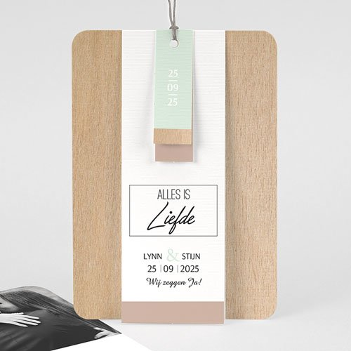 Vintage trouwkaarten - Gekleurd hout 58027 thumb