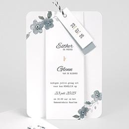 Chique trouwkaarten Botanisch blauw