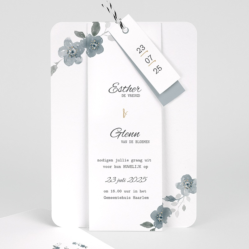 Chique trouwkaarten - Botanisch blauw 58085 thumb