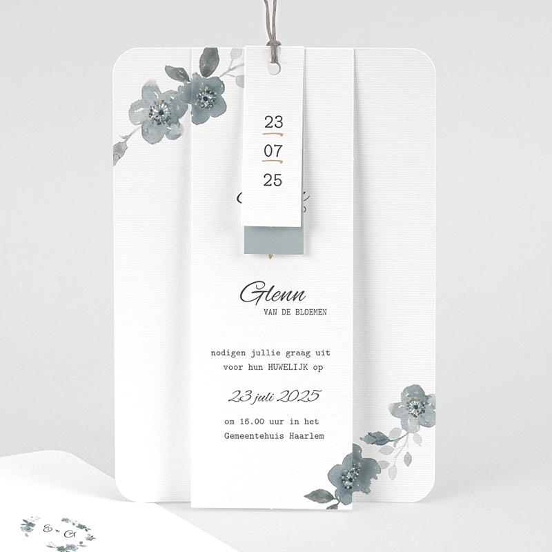 Chique trouwkaarten - Botanisch blauw 58090 thumb
