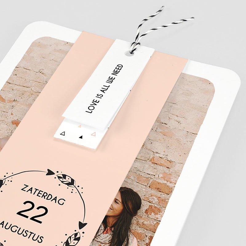 Trouwkaarten met Foto Krans boho pas cher
