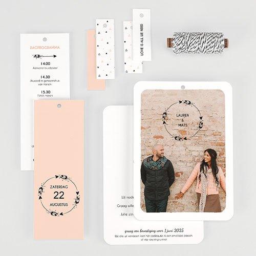 Trouwkaarten met Foto Krans boho gratuit