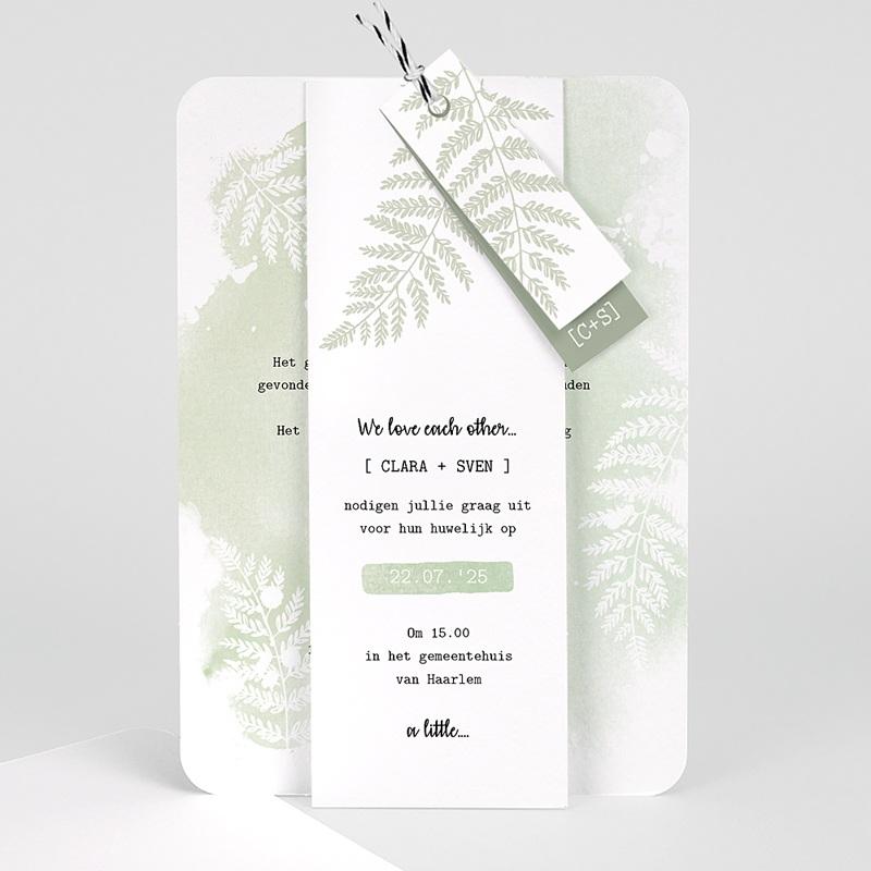 Landelijke trouwkaarten - Groene aquarel 58416 thumb