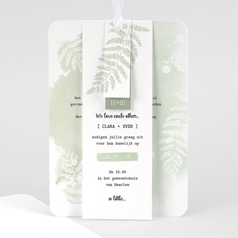 Landelijke trouwkaarten - Groene aquarel 58420 thumb
