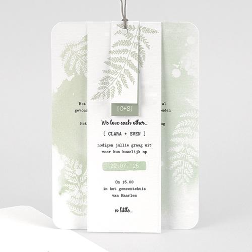Landelijke trouwkaarten - Groene aquarel 58421 thumb