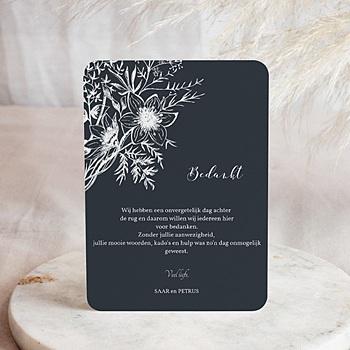 Bedankkaarten huwelijk met foto - Gestileerde bloemen - 0