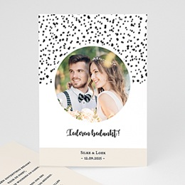 Bedankkaartjes Huwelijk Zwart-wit stippen