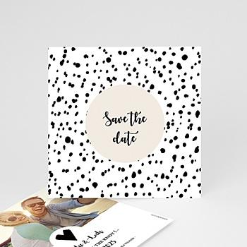 Save the date kaartjes - Zwart-wit stippen - 0