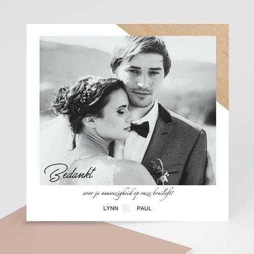 Bedankkaarten huwelijk met foto - Gekleurd hout 58687 thumb