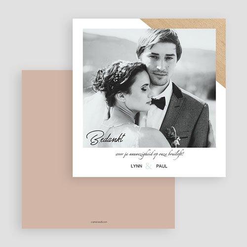 Bedankkaarten huwelijk met foto - Gekleurd hout 58689 thumb