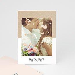 Bedankkaarten huwelijk met foto Kraft en Color