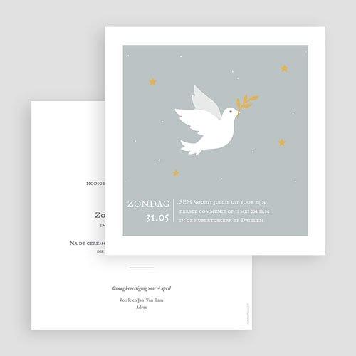 Uitnodiging communie jongen Holy Spirit Grijs gratuit