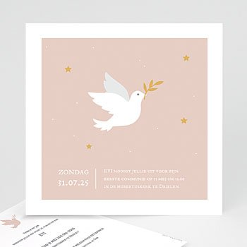 Uitnodiging communie meisje Holy Spirit Roze