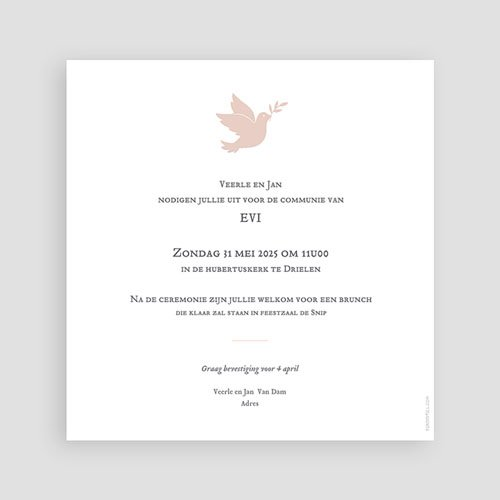 Uitnodiging communie meisje Holy Spirit Roze pas cher