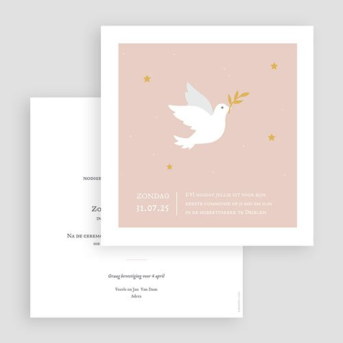 Uitnodiging communie meisje Holy Spirit Roze gratuit