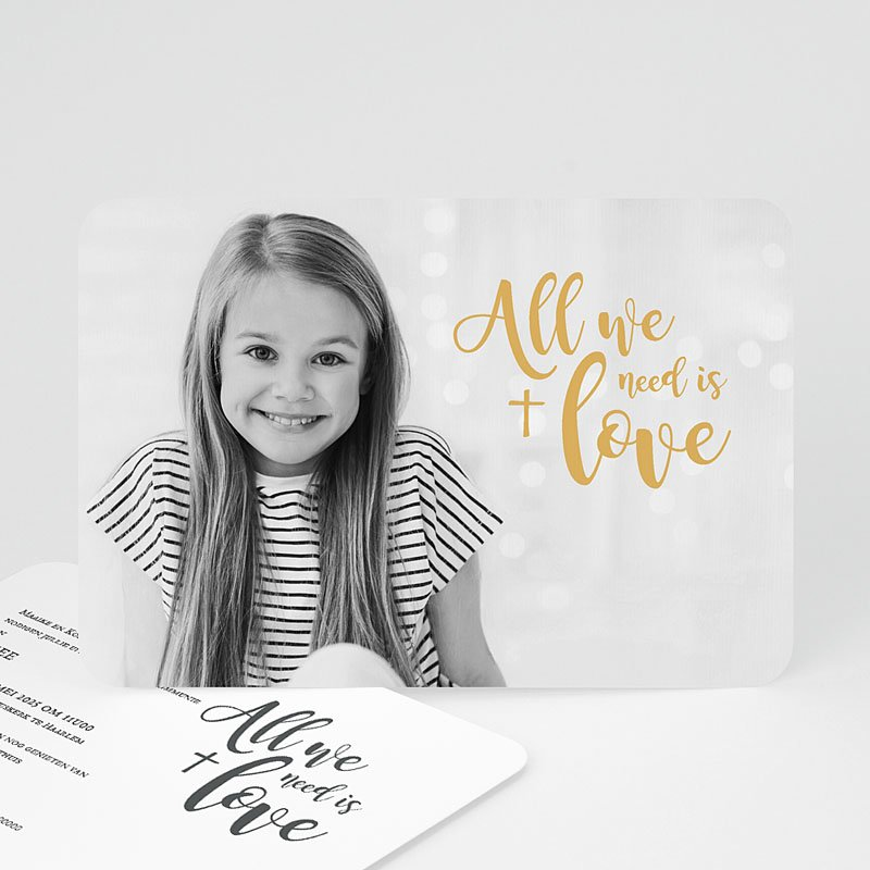 Uitnodiging communie meisje - Love Jesus 58759 thumb