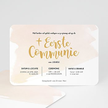 Uitnodiging communie meisje - Watervef en Goud Girl - 0