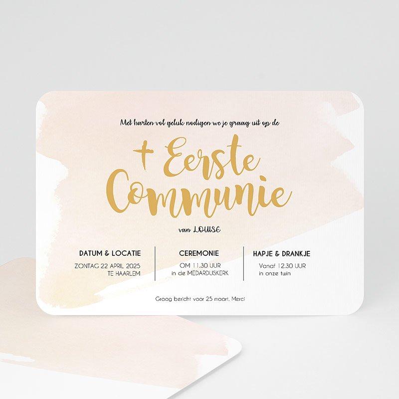 Uitnodiging communie meisje - Watervef en Goud Girl 58789 thumb