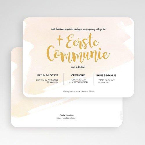 Uitnodiging communie meisje - Watervef en Goud Girl 58791 thumb