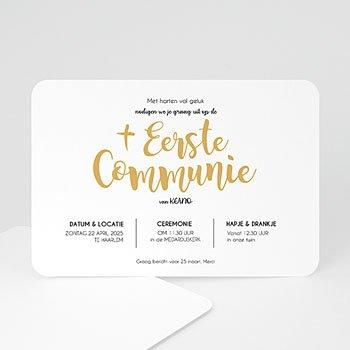Uitnodiging communie jongen Waterverf en Goud Boy