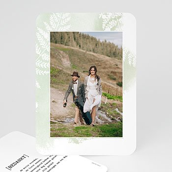 Bedankkaarten huwelijk met foto - Groene aquarel - 0