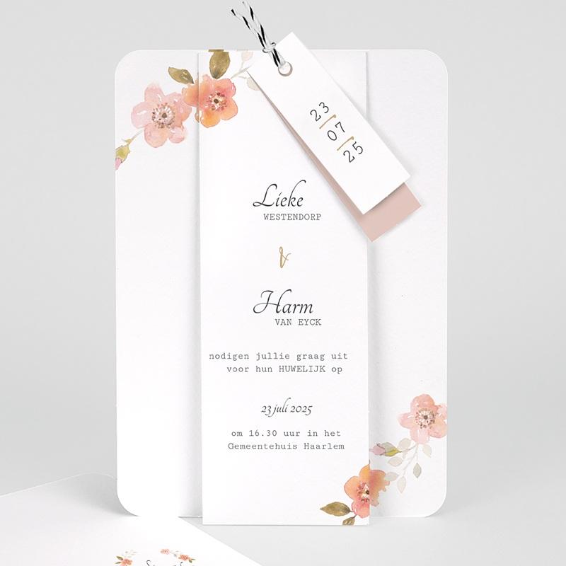 Landelijke trouwkaarten - Botanisch Roze 58911 thumb
