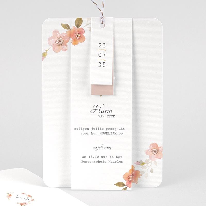 Landelijke trouwkaarten - Botanisch Roze 58914 thumb