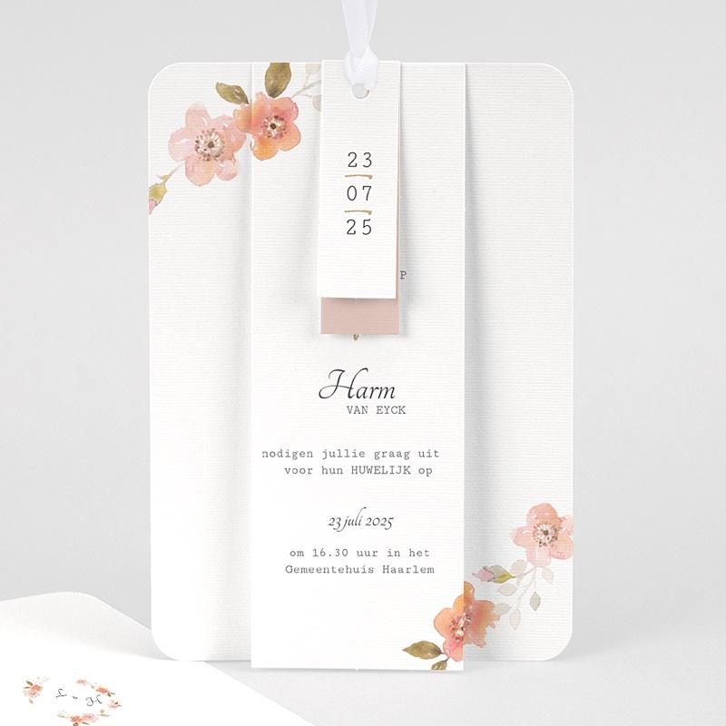 Landelijke trouwkaarten - Botanisch Roze 58915 thumb