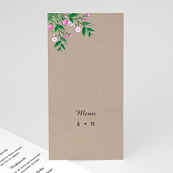 Menukaarten huwelijk - Vintage Flower - 0