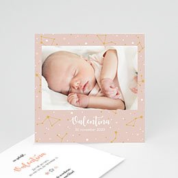 Aankondiging Geboorte Nachthemel roze (miniformaat)