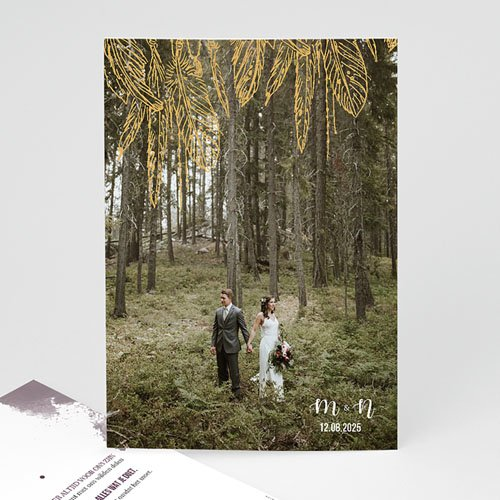 Bedankkaarten huwelijk met foto Boho Heart Wood